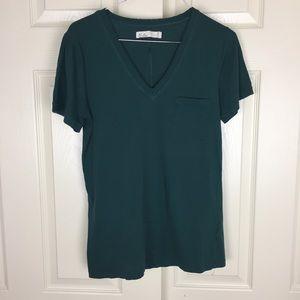 Madewell Hi Line Raw Edge V Neck Cotton T-Shirt